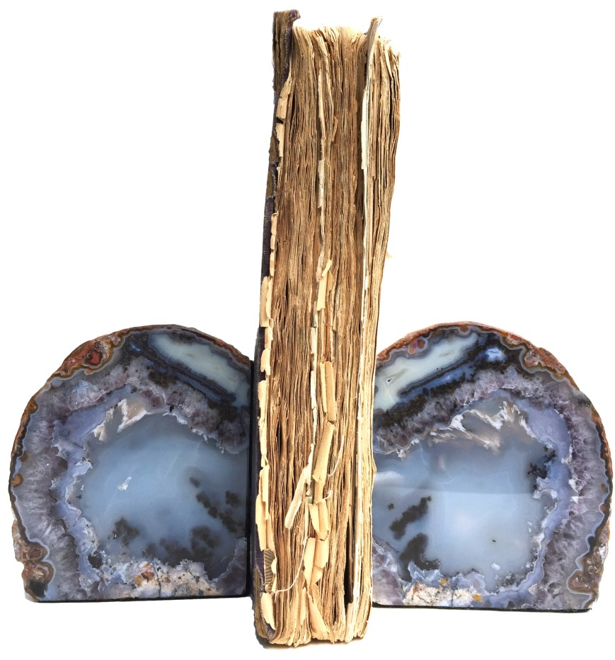 Lovely rounded blueish agate bookends.